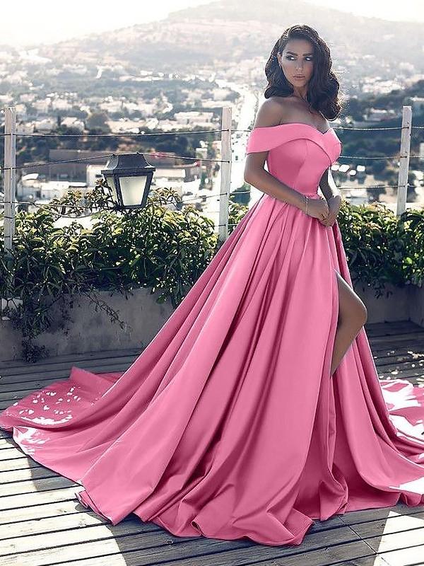 Satin A-Line Court Train Off-the-Shoulder Blue Prom Dresses