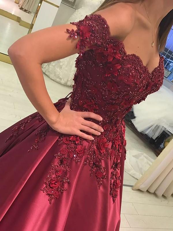 Ball Gown Off-the-Shoulder Floor-Length Burgundy Prom Dresses