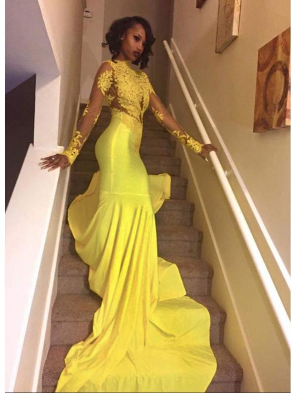 Mermaid High Neck Long Sleeves Brush Train Satin Prom Dresses