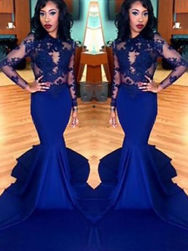 Mermaid Long Sleeves Scoop Brush Train Royal Blue Prom Dresses