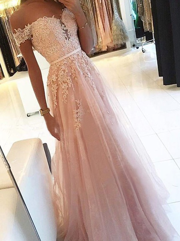 A-Line Pearl Pink Off-the-Shoulder Sleeveless Floor-Length Applique Tulle Prom Dresses