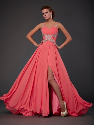A-Line Scoop Brush Train Pink Prom Dresses