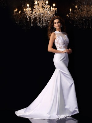 White Mermaid High Neck Chapel Train Wedding Dresses with Applique