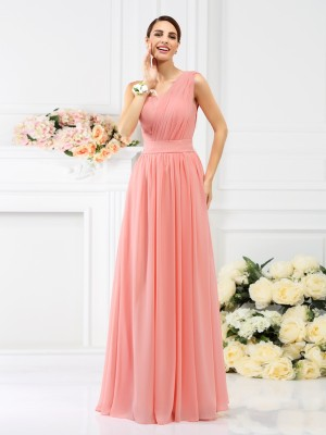 One-Shoulder Floor-Length Pink Bridesmaid Dresses with Pleats