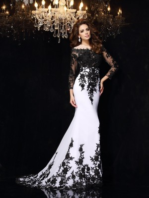 Long Sleeves Sheath Scoop Brush Train White Prom Dresses