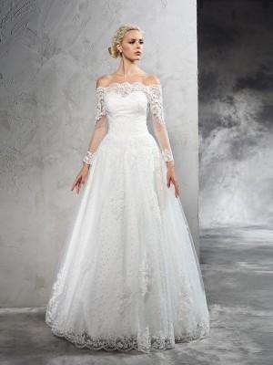Ivory Off-the-Shoulder Net Floor-Length Wedding Dresses