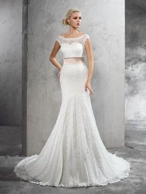 Lace Sheath Court Train Sheer Neck Ivory Wedding Dresses