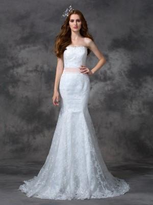 Mermaid Strapless Court Train White Wedding Dresses with Sash/Ribbon/Belt