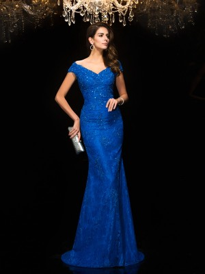 Lace V-neck Brush Train Blue Mother of the Bride Dresses