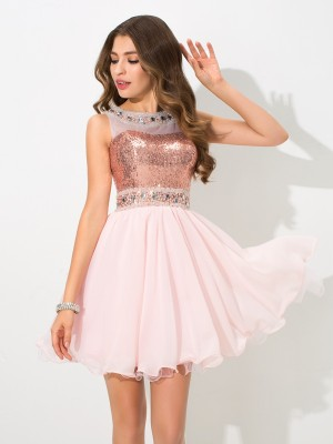 Chiffon Sheer Neck Short/Mini Pink Homecoming Dresses