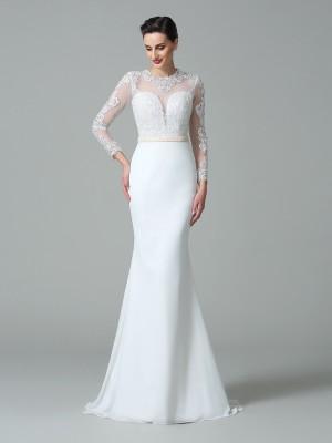 Mermaid Long Sleeves Jewel Brush Train White Wedding Dresses