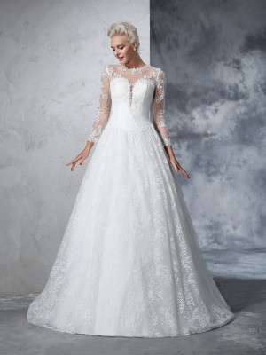 Court Train Ivory Long Sleeves Jewel Wedding Dresses with Lace