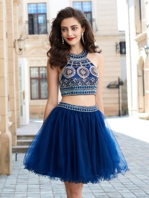 Net Jewel Short/Mini Dark Navy Homecoming Dresses