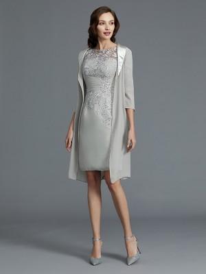 Short Silver Half Sleeves Scoop Mother of the Bride Dresses