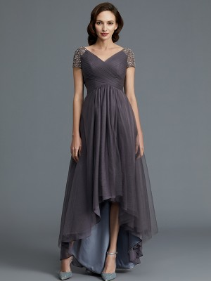 Tulle V-neck Asymmetrical Grey Mother of the Bride Dresses
