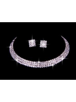 Great Czech Rhinestone Wedding Necklaces Earrings Set