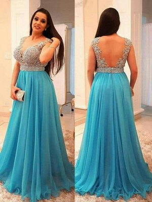 Chiffon V-neck Brush Train Blue Prom Dresses