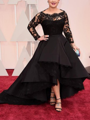 A-Line Bateau Asymmetrical Black Prom Dresses with Lace