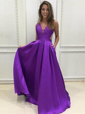 A-Line Satin V-neck Brush Train Regency Prom Dresses