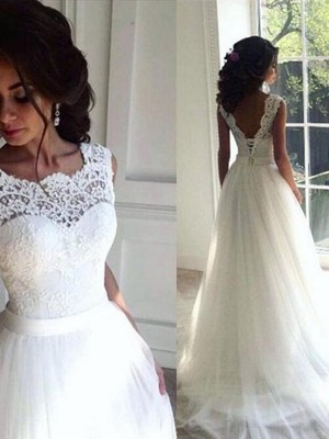 A-Line Bateau Brush Train White Wedding Dresses
