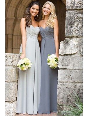 Chiffon Sweetheart Floor-Length Grey Bridesmaid Dresses