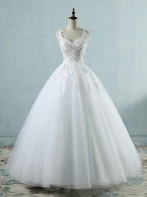 Ball Gown White Sweetheart Floor-Length Tulle Wedding Dresses