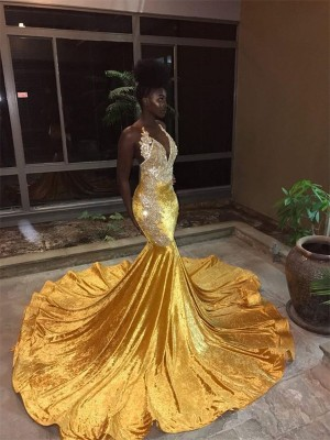 Mermaid Gold V-neck Court Train Lace Velvet Prom Dresses