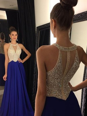 A-Line Scoop Sweep/Brush Train Royal Blue Prom Dresses with Beading