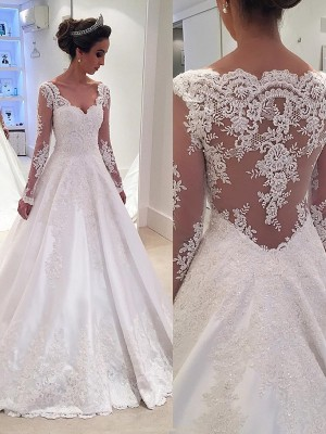 Ball Gown V-neck Court Train Ivory Wedding Dresses
