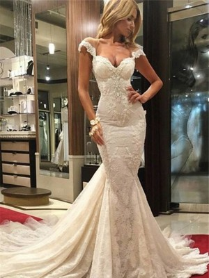 V-neck Chapel Train White Wedding Dresses with Lace
