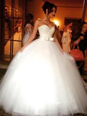Tulle Sweetheart Floor-Length White Wedding Dresses