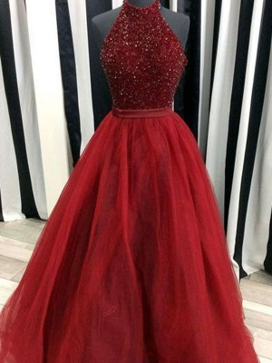 Organza High Neck Floor-Length Red Prom Dresses