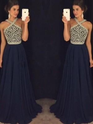 A-Line Halter Floor-Length Dark Navy Prom Dresses with Beading