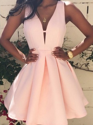 A-Line V-neck Short/Mini Pink Homecoming Dresses