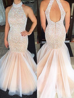 Pearl Pink Halter Tulle Brush Train Prom Dresses