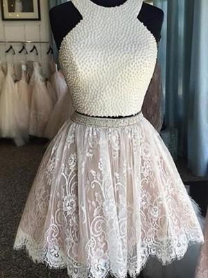 A-Line Halter Short/Mini White Homecoming Dresses
