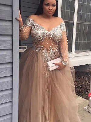 Ball Gown Off-the-Shoulder Floor-Length Champagne Prom Dresses