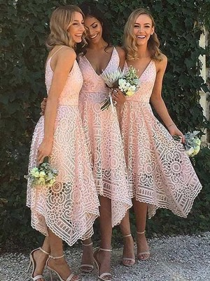 Lace A-Line Asymmetrical V-neck Pink Bridesmaid Dresses