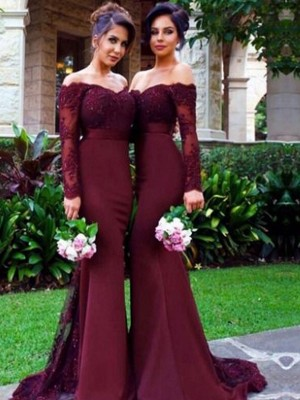 Long Sleeves Mermaid Off-the-Shoulder Brush Train Burgundy Bridesmaid Dresses