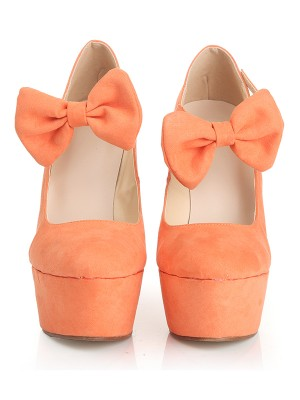 Closed Toe Suede Wedge Heel Platform With Bowknot Wedges Shoes