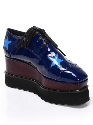 Patent Leather Platform Closed Toe Wedge Heel With Lace-up Dark Navy Fashion Sneakers