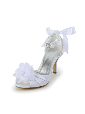 Satin Stiletto Heel Peep Toe Dance Shoes With Imitation Pearl