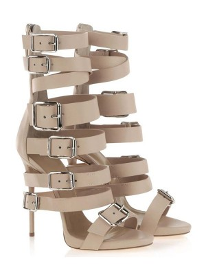Stiletto Heel Suede Peep Toe Platform With Buckle Sandal Mid-Calf Champagne Boots