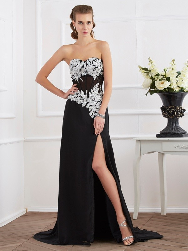 Black Sweetheart Chiffon Floor-Length Prom Dresses