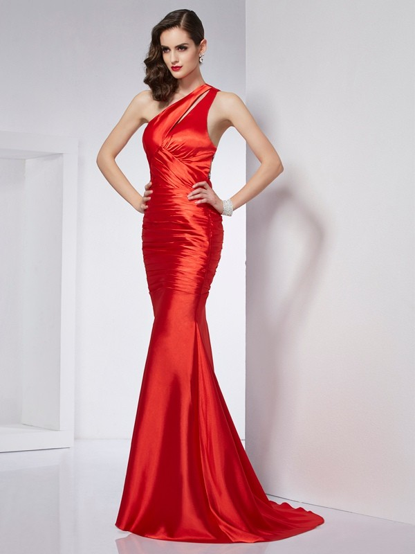 Sheath One-Shoulder Brush Train Red Prom Dresses
