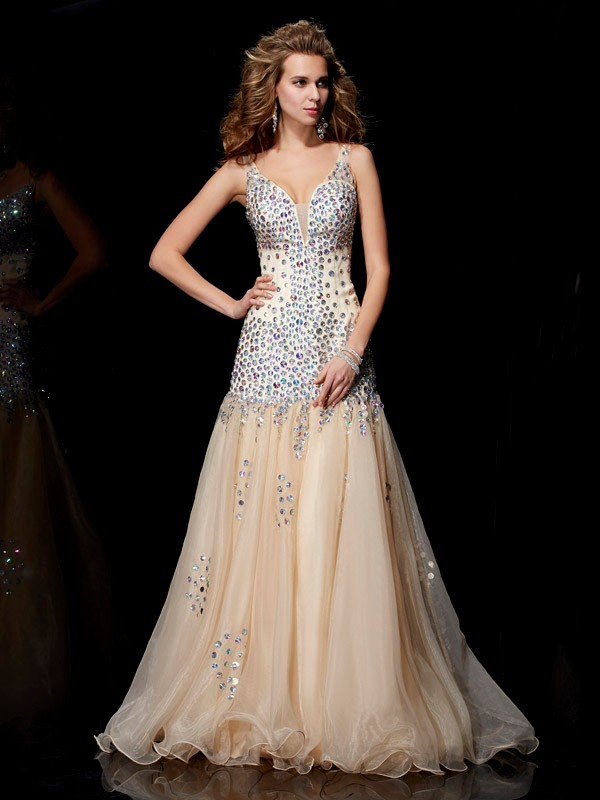 Sheath Organza V-neck Floor-Length Prom Dresses with Beading