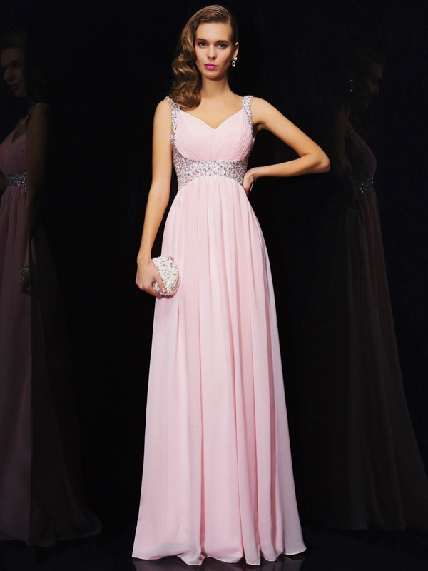 Chiffon V-neck Floor-Length Pink Prom Dresses