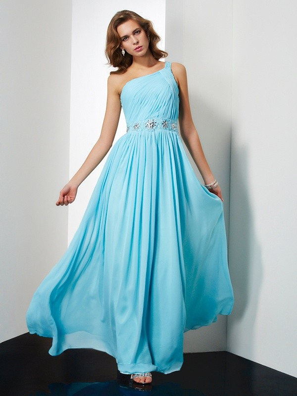 A-Line One-Shoulder Floor-Length Blue Prom Dresses