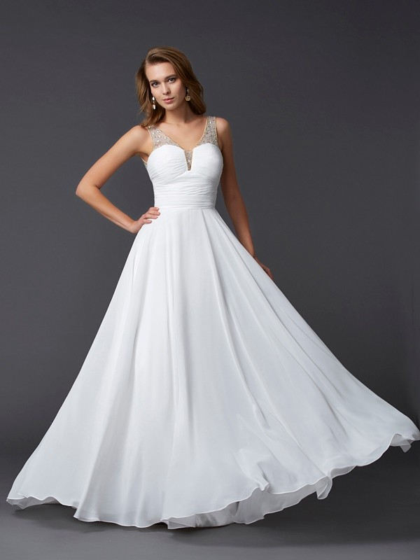 Sheath Straps Floor-Length White Prom Dresses with Pleats