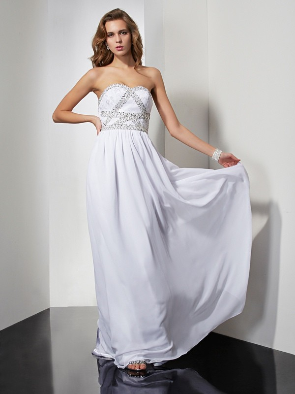 Sheath Chiffon Strapless Floor-Length Prom Dresses with Beading